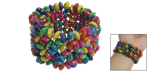 Women Round Beads Stretch Multi Strings 1.3