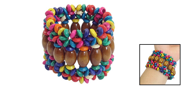 Colorful Wooden Round Beaded Stretchy Multi Strings 2