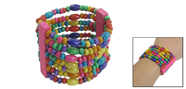 Jewelry Pastel Wooden Bead 7 Layers Elastic Bracelet Bangle Colorful for Ladies