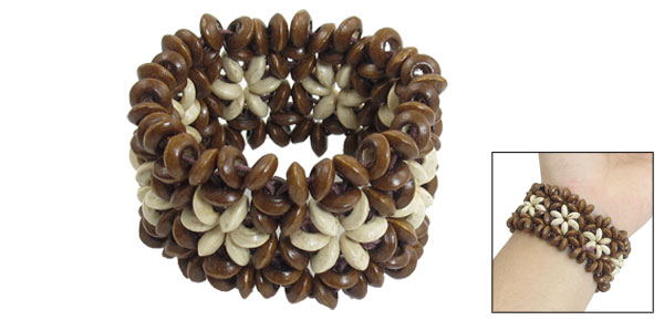 Lady Brown Beige Wooden Round Bead Coconut Shell Elastic DIY Braided Bracelet