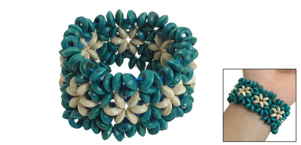 Teal Green Beige Wooden Round Beaded Stretchy Wide Bracelet Bangle for Lady