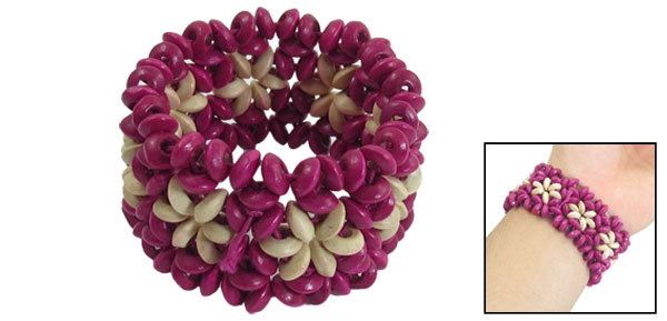 Woman Coconut Shell Round Beads Stretch Multi Strings Bracelet Bangle Magenta