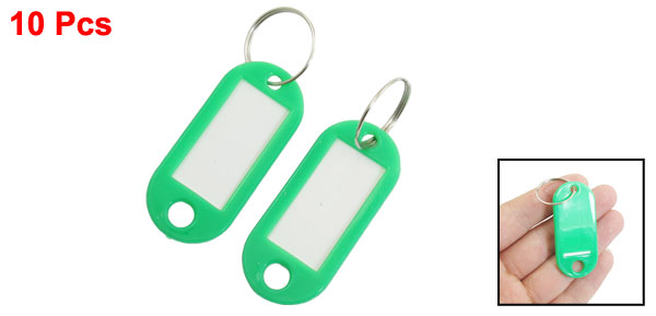 10PCS Portable Green Plastic Key Name Notes Tags ID Labels w Split Keychain