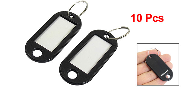 Company Factory Black Plastic Holder ID Key Labels Tags Keyring Keychain 10PCS