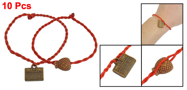 Wooden Carved Lucky Lock Decor Red Nylon Twisted String Bracelets 10 Pcs
