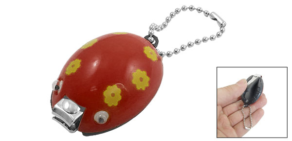 Red Yellow Floral Plastic Ladybug Design Nail Clipper Trimmer Manicure Tool