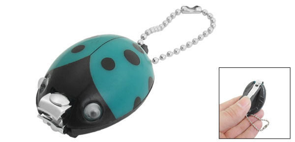 Teal Green Black Plastic Ladybug Design Nail Clipper File Trimmer Manicure Tool