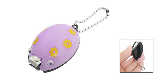 Light Purple Yellow Flower Printed Ladybug Ladybird Shaped Nail Clipper Tool