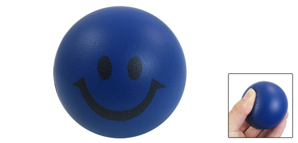 Kids Blue Black Smiling Face Print Soft PU Bouncing 2.4