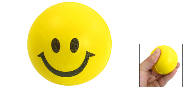 Yellow Black Smile Face Pattern Round PU Bouncing Ball Toy 2.4