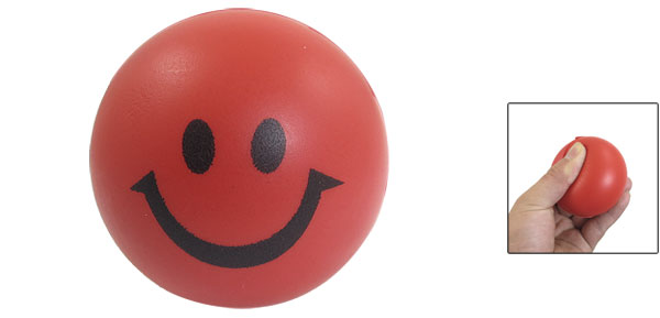 Red Black Soft PU Smile Facial Expression Bouncing Round Ball Toy for Kids