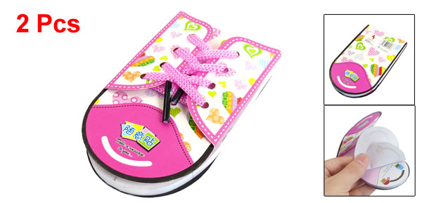 2 Pcs Shoes Shoelace Design Memo Pad Note Paper Notepaper Pink