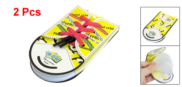 2 Pcs Shoes Shoelace Design Memo Pad Note Paper Notepaper Red Yellow