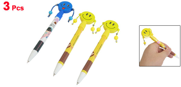 3 Pcs Rattle Drum Design Smile Face Pattern Self Lock Ball Point Pen Yellow Blue