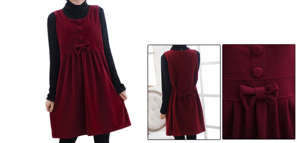 Preganancy Burgundy Bowknot Upper Self Tie Strap Ruched Detail Pullover Dress L