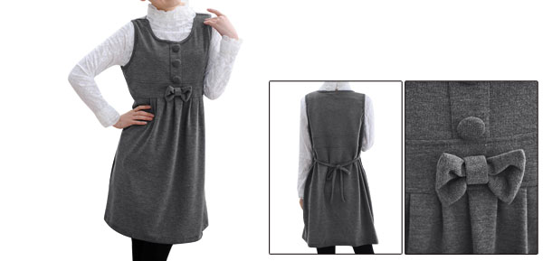 Motherhood Gray Sleeveless Butterfly Knot Front Ruched Detail Short Dress L
