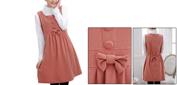 Maternity Pink Scoop Neck Sleeveless Bowknot Decor Self Tie String Casual Dress L