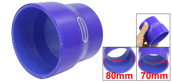 70mm to 80mm Straight Reducer Silicone Turbo Hose Coupler Blue
