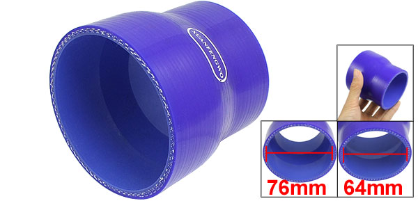 64mm to 76mm Straight Turbo Reducer Silicone Hose Coupler Blue