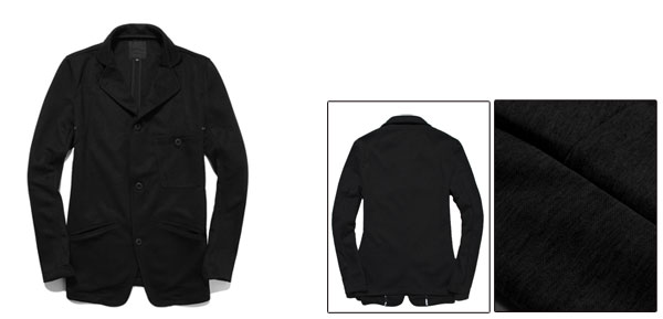 Men Long Sleeve Four Button Front Chest Pocket Basic Coat Black M