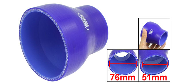 51mm to 76mm Straight Turbo Reducer Silicone Hose Coupler Blue
