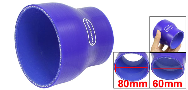 60mm to 80mm Straight Turbo Reducer Silicone Hose Jointer Coupler Blue