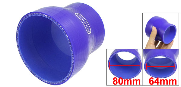 64mm to 80mm Straight Turbo Reducer Silicone Hose Coupler Blue
