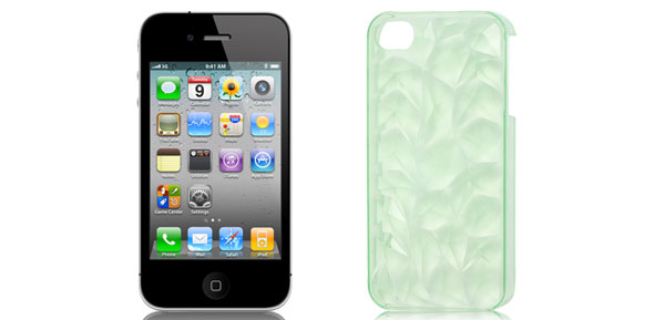 Plastic Clear Green 3D Water Cube Back Case Cover Guard for Apple iPhone 4 4G 4S