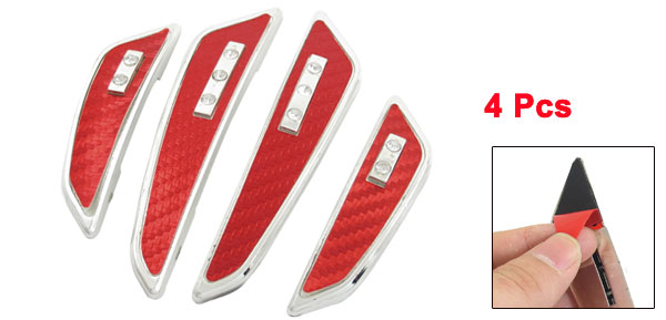 Auto Car Faux Rhinestone Inlaid Red Braided Door Guard Protector 4 Pcs