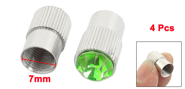 4 Pcs Auto Car Green Faux Crystal Accent Alloy Tyre Tire Valve Stem Cap