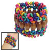 "Colorful Wooden Round Beaded Stretchy Multi Strings 2"" Width Bracelet for Women"
