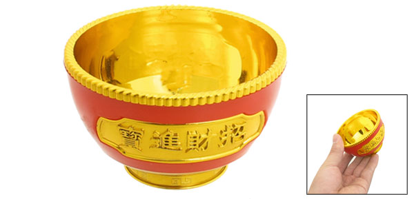 8cm Diameter Round Base Plastic Gold Tone Red Bowl