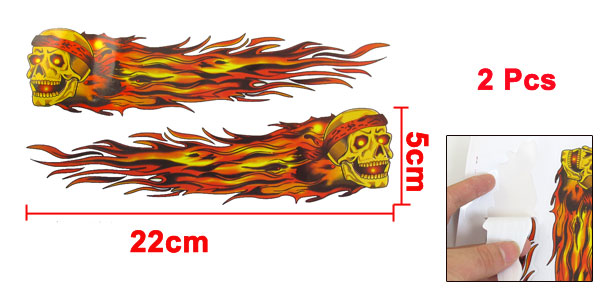Car Vehicles Adhesive Skull Head Fiery Blaze Stickers Red Black 2 Pcs