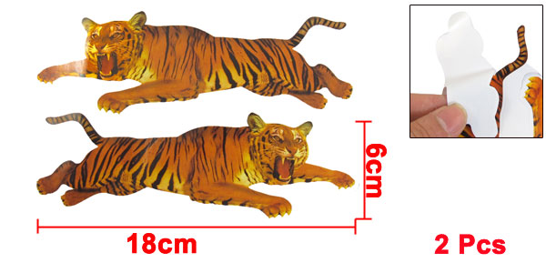 Auto Car Tiger Pattern Decorative Self Adhesive Stickers Pair