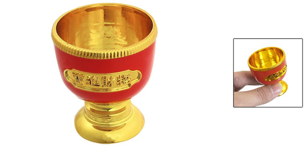 5cm Height Round Base Plastic Gold Tone Red Wine Glass