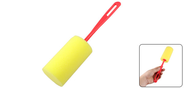 Plastic Handle Milk Bottle Cup Mug Sponge Brush Cleaner Yellow Red 9.4