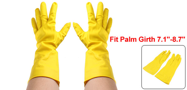 Kitchen Dishwashing Reusable Latex Rubber Skincare Cleaning Gloves Yellow Pair