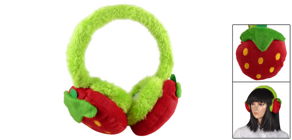 Woman Red Strawberry Design Green Faux Fur Back Ear Pad Earmuffs Earwarmers