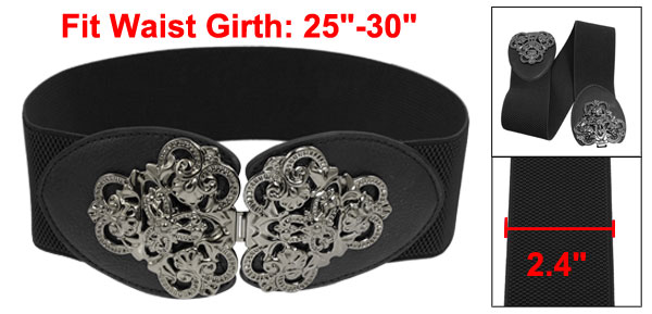 Women Fashion Metalic Flower Buckle Wide Elastic Cinch Waist Belt Black