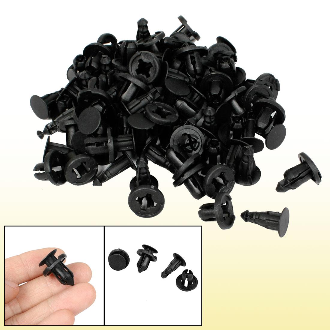 Car Bumper 10mm Hole Plastic Rivet Trim Panel Clips Black 50 Pcs