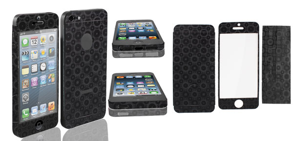 Clear LCD Screen Guard w Circles Pattern Back Sticker for iPhone 5