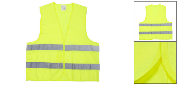Gray Stripes Fluorescent Yellow Detachable Closure Warning Reflective Vest