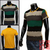 Mens Yellow Mesh Detail Casual Pullover Short Slee...