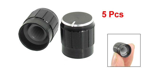 5 Pcs Black Metal 6mm Knurled Shaft Insert Dia. Potentiometer Control Knobs
