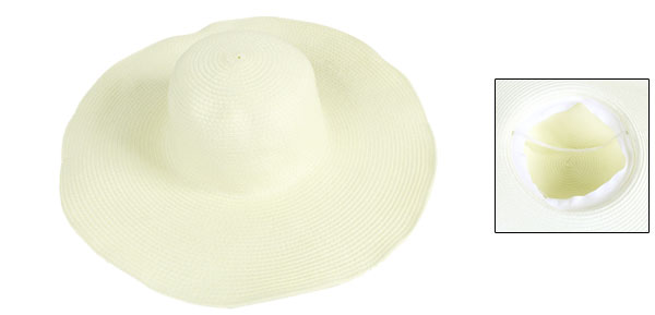 Lady Wide Brim Textured Visor Hat Summer Cap White w Stretchy Strap