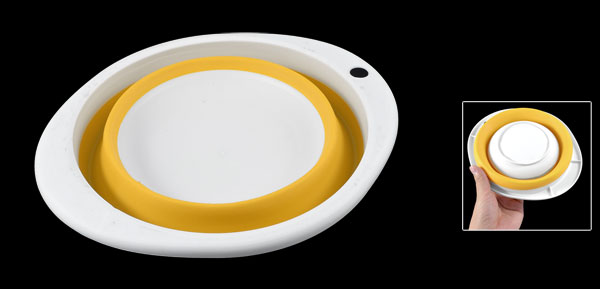 Home Oval Shaped Folding Pet Cat Dog Bowl Dish White Dark Yellow