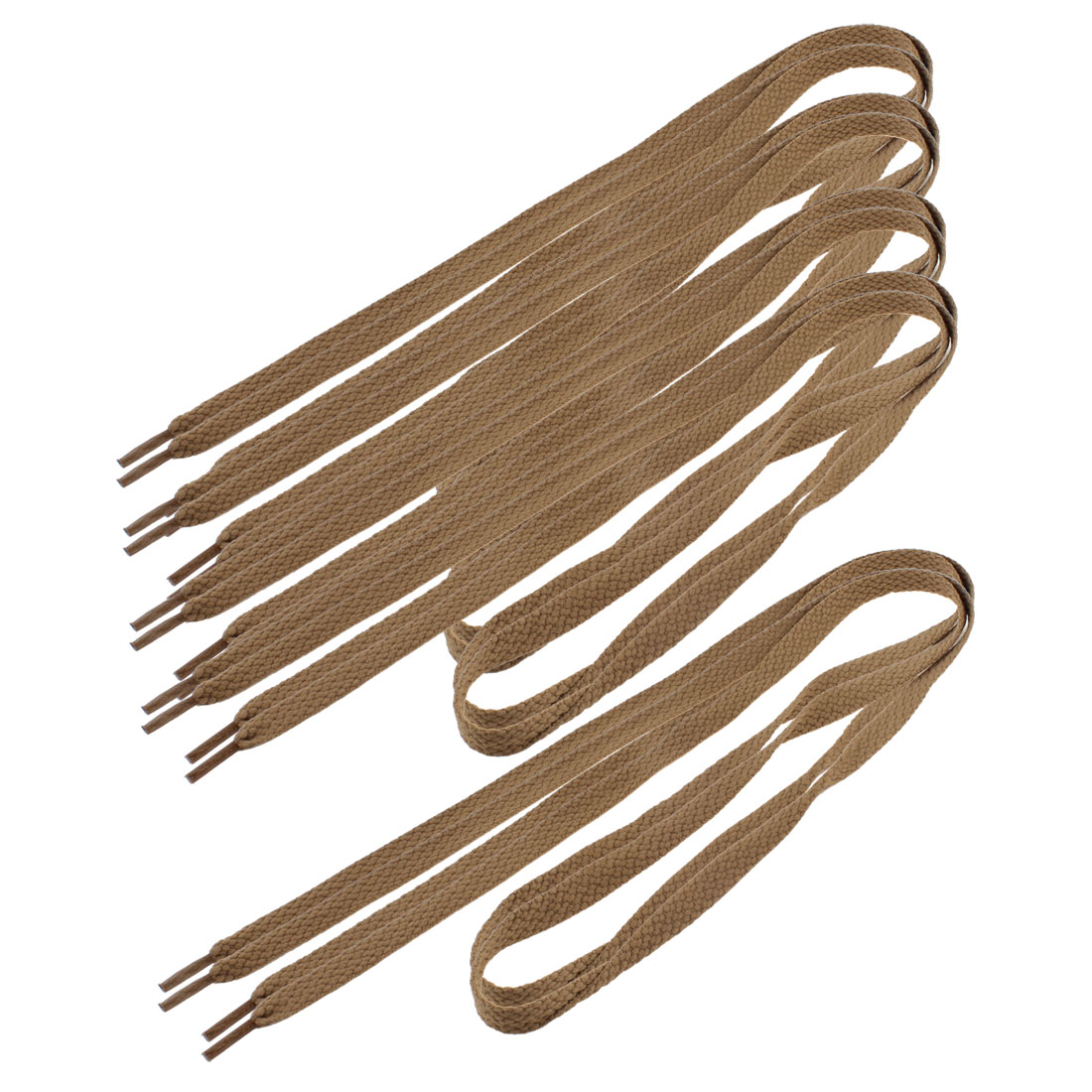 Men-Women-Sneakers-Textured-Flat-Shoelaces-Shoe-Strings-Brown-5-Pairs