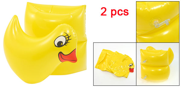 2 Pcs Yellow Duck Shape Swimming Pool Float Inflatable Arms Band