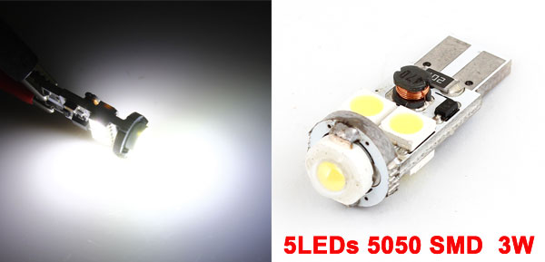 White 4LEDs 5050 SMD + 3W High Power LED Lamp Meter Panel Bulb T10 for Car