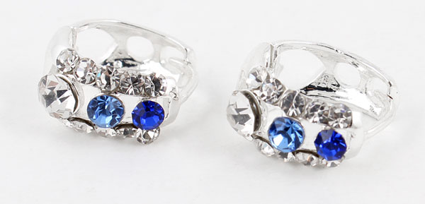 Ladies Pair Blue Glittery Rhinestone Decor Pierced Hoop Earrings